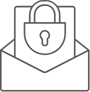 Lock and paper in an envelope.