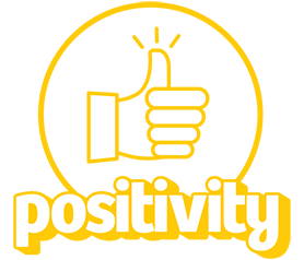 Icon of a thumbs up with the word positivity.
