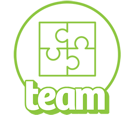 Icon of a puzzle with the word team.