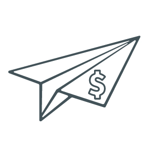 Icon of paper airplane with a dollar sign.