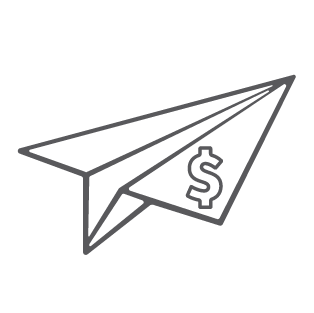 A paper airplane with a dollar sign.